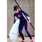 Ladies wetsuit neopren 2,5mm fullsuit navy blue-pink Aropec