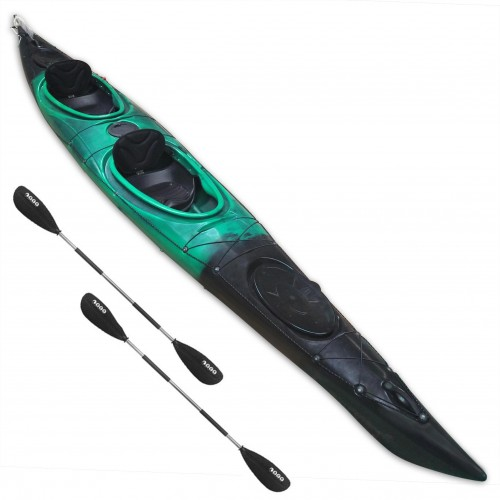 HUG sit-in kayak 2 person SCK with 2 paddles Black / Green