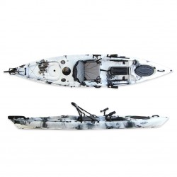 Leisure Dave Updated single kayak for fishing with rudder system Winner - White/Black