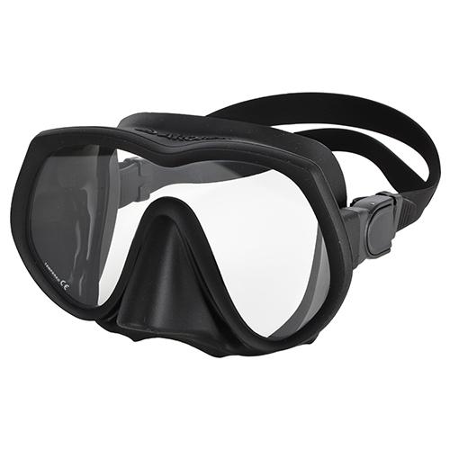 Single Lens Frameless Diving Mask black silicon Aropec