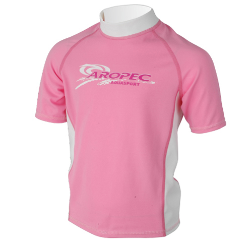 UV lycra short sleeve for kids light pink Aropec
