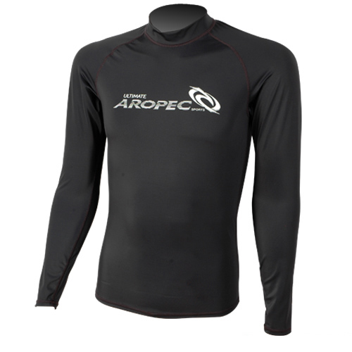 UV Lycra Long Sleeve Rash Guard for Man black Aropec