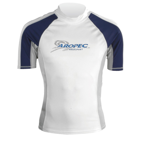 Lycra Short Sleeve Rash Guard for Man white Aropec