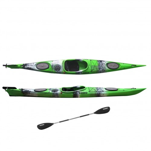 Dreamer Plus single sit-in kayak by SCK with paddle Green / White / Black