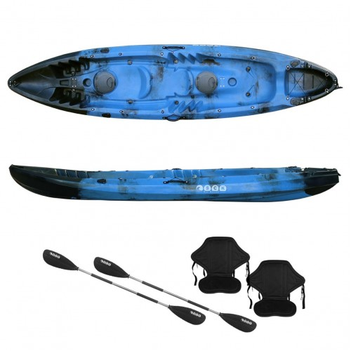 Nereus sea Kayak 2+1 seats SCK with 2 paddles and 2 backrests Black / Blue