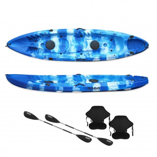 Nereus sea Kayak 2+1 seats SCK with 2 paddles and 2 backrests Blue / White