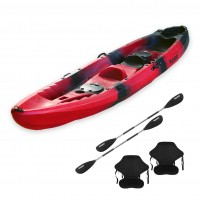 Nereus sea Kayak 2+1 seats SCK with 2 paddles and 2 backrest Red / Black