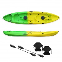 Nereus sea Kayak 2+1 seats SCK with 2 paddles and 2 backrest Yellow / Green