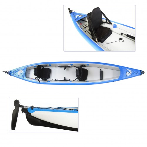 """SCK VELOCE 15'5"""" LTD double seat full drop-stitch inflatable kayak with rudder"""