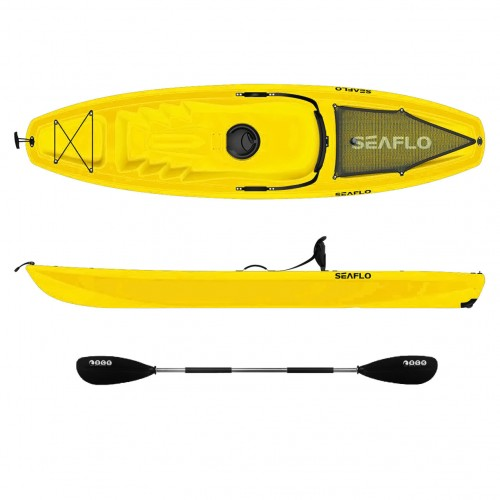 Seaflo Puny single Kayak with wheel and paddle - Yellow