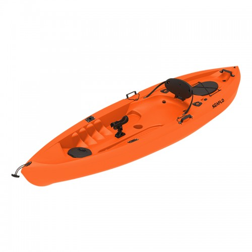 Seaflo LUPIN - Single seat fishing kayak with wheel and paddle - Orange