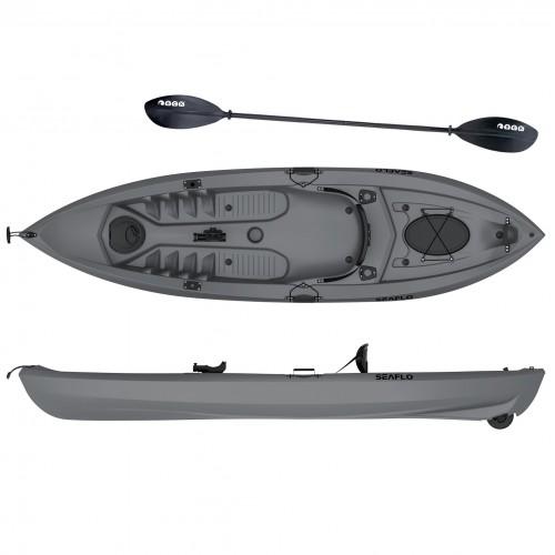 Seaflo LUPIN - Single seat fishing kayak with wheel and paddle - Grey
