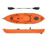 Seaflo LUPIN - Single seat fishing kayak with wheel and paddle - Orange
