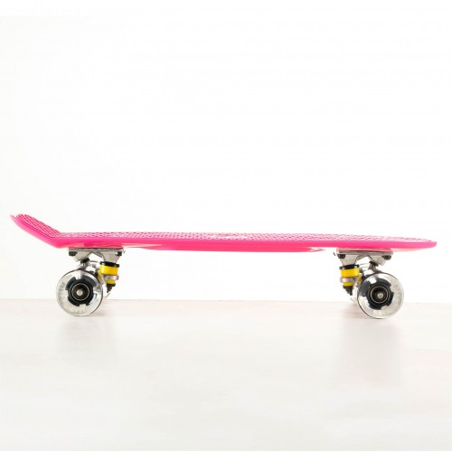 Mini cruiser Plastic skateboard 22.5'' Pink with LED wheels Fish