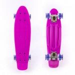 Mini cruiser Plastic skateboard 22.5'' Purple with LED wheels Fish
