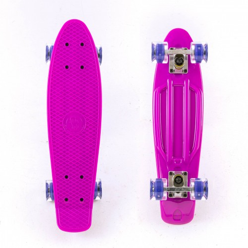 Mini cruiser Plastic skateboard 22.5'' Purple with LED wheels Fish
