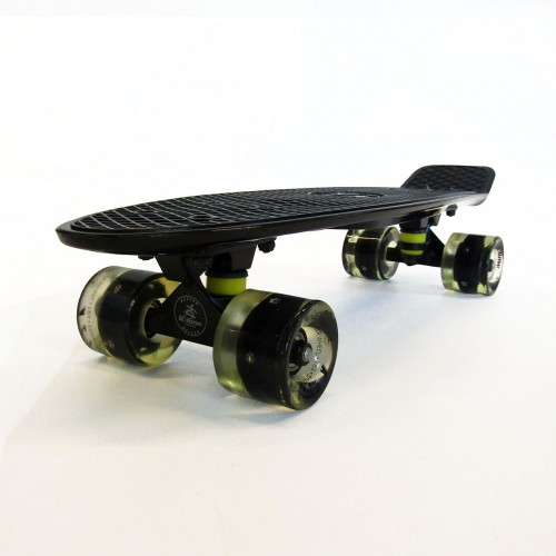 Plastic skateboard 22.5'' Black Fish with LED wheels