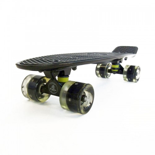 Plastic skateboard 22.5'' Black Fish with LED wheels