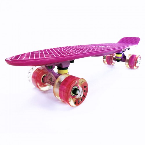 Plastic skateboard 22.5'' Purple Fish with LED wheels
