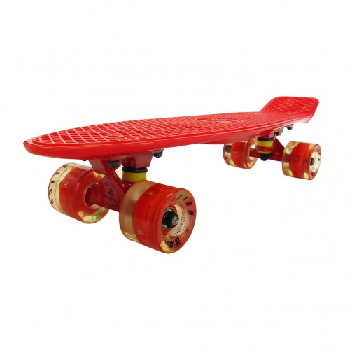 Plastic skateboard 22.5'' Red Fish with LED wheels