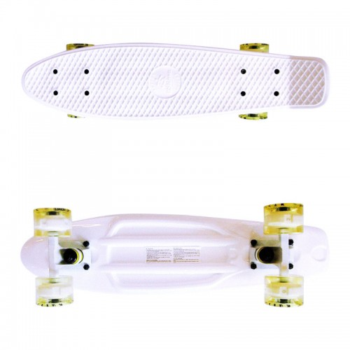 Plastic skateboard 22.5'' White with yellow LED wheels Fish