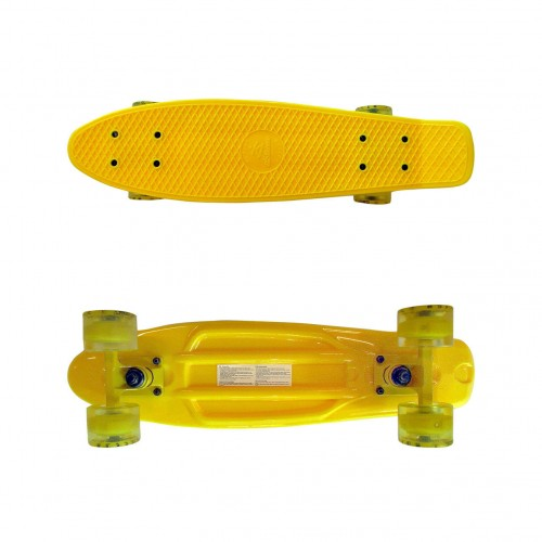 Plastic skateboard 22.5'' Yellow Fish with LED wheels