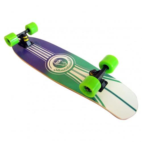 Wood cruiser skateboard 27'' Blue/Green Fish