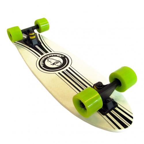 Wood cruiser skateboard 27'' Green wheels White Fish