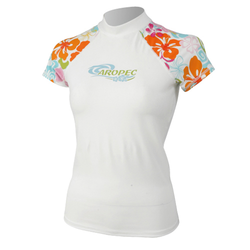 Lycra Short Sleeve Rash Guard for Woman flowers Aropec