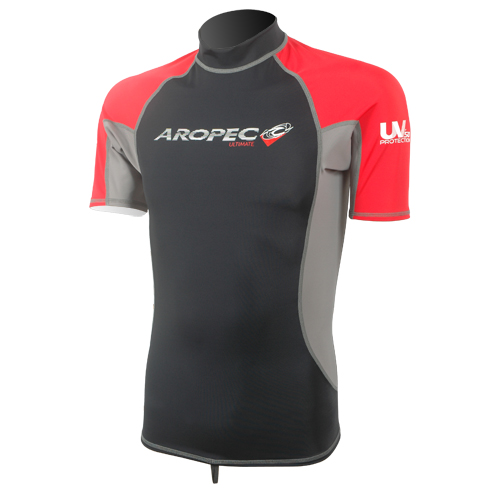 Lycra Short Sleeve Rash Guard for Man black-red Aropec