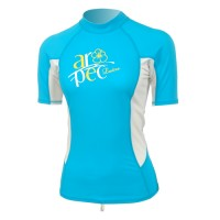 Lycra Short Sleeve Rash Guard for Woman turquoise  Aropec