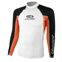 UV Lycra Long Sleeve Rash Guard for Man white-orange Aropec