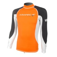 UV Lycra Long Sleeve Rash Guard for Man orange Aropec