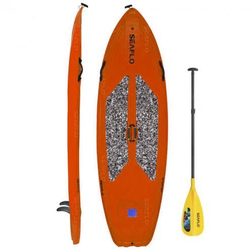 SUP board 9'6'' polyethylene SeaFlo with SUP paddle Orange