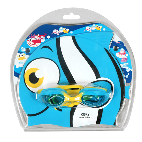 Kids swimming set goggles and cup Clown fish Aropec