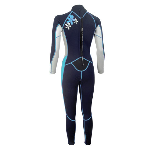Ladies wetsuit neopren 2,5mm fullsuit black-light blue Aropec