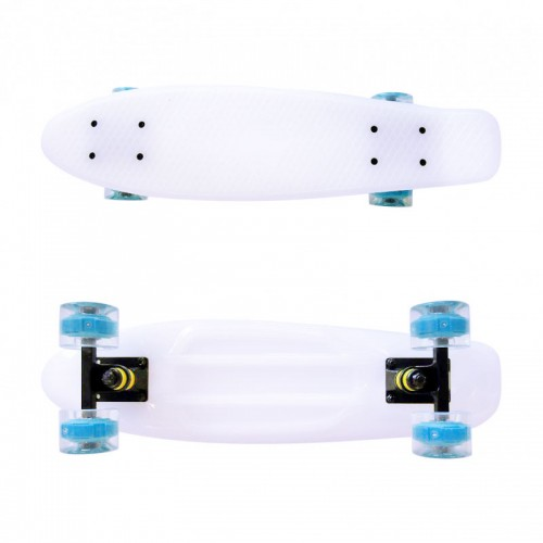 Plastic skateboard 22.5'' White that Glows in the dark with blue Led wheels Fish