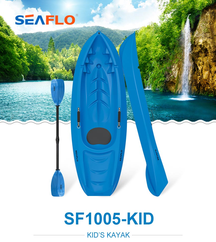 Seaflo Kids kayak in Blue color with matching SCK kids paddle