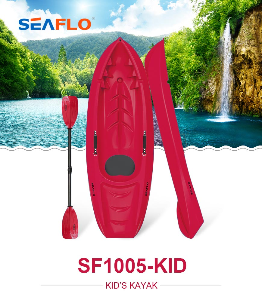 Seaflo Kids Kayak red color with SCK red matching paddle