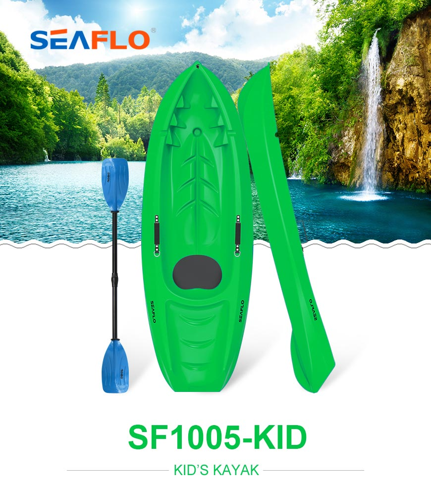 Seaflo Kids kayak in green color with SCK kids paddle