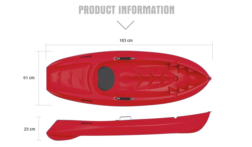 Kids Seaflo Kayak in Red color Dimensions